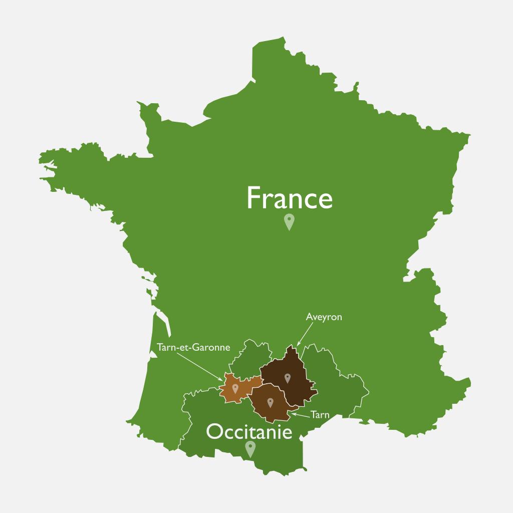 Carte du Tarn Aveyron en France