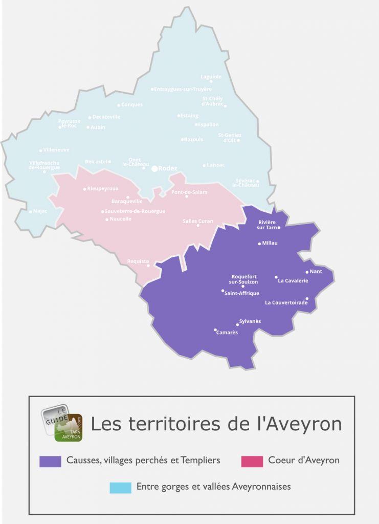 Carte de l'Aveyron, causses, villages perchés et templiers