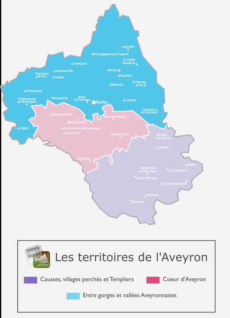 Carte de l'Aveyron, territoire entre Gorges et Vallées
