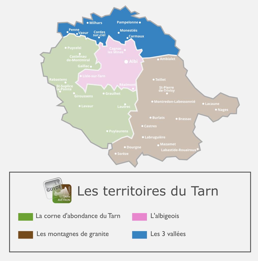 Carte du Tarn, territoire des 3 vallées