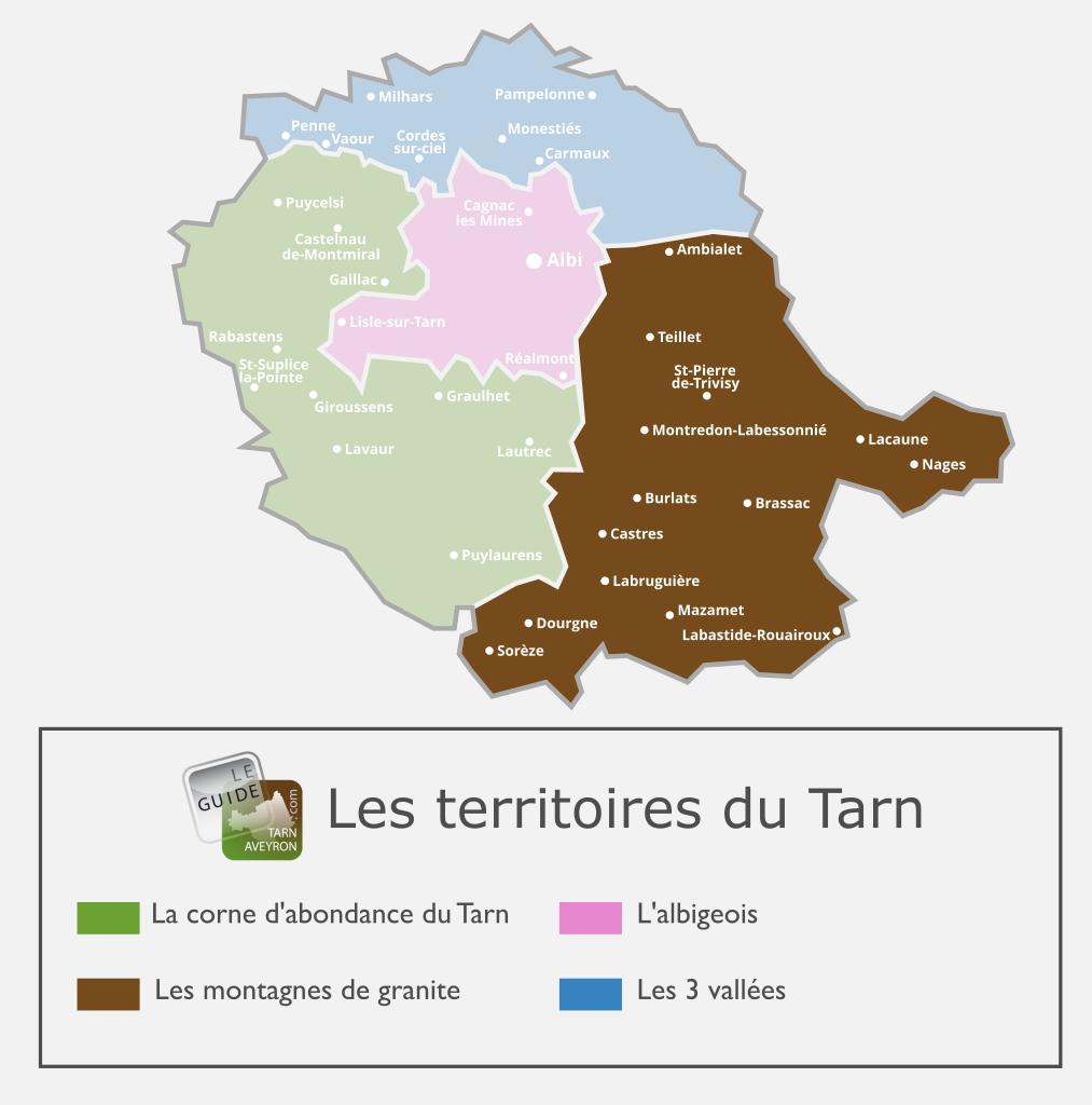 Carte du Tarn, les Montagnes de Granite