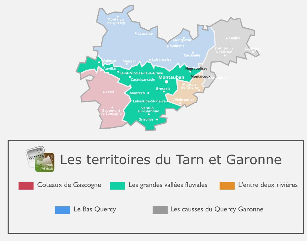 Carte du Tarn-et-Garonne, Les Grandes Vallées Fluviales