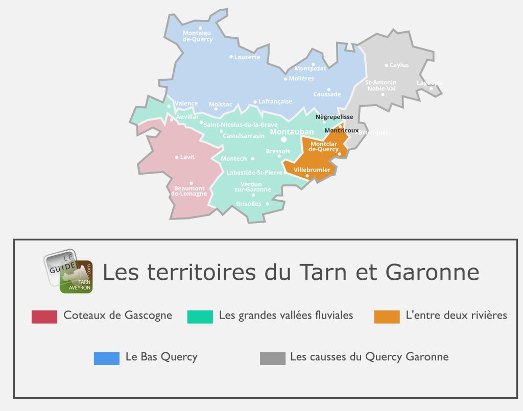 Carte du Tarn-et-Garonne l'Entre Deux Rivières