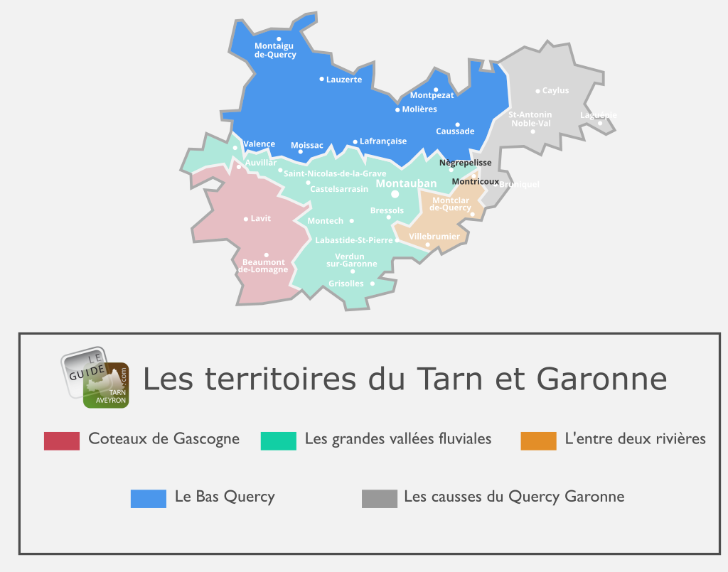 Carte du Tarn-et-Garonne, Le Bas Quercy
